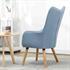 Fernsehsessel mit Kissen von Estexo, TV Sessel Polsterung mit Knoepfen, stabile Holzbeine, Farbe Hellblau, Rueckansicht