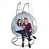 Rattan Hängesessel mit Gestell für 2 Personen grau-silber, mit Kissen