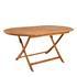 Holz Balkonmöbel Set Tisch oval klappbar mit Sonnenschirmlochung