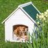 Massive echtholz Hundehuette mit wetterfestem Bitumendach, winter- und wetterfest, Farbe weiss