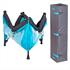 Estexo® klappbares Kinderreisebett und Laufstall inklusive Transporttasche, Farbe Tuerkis Grau, zusammengeklappt mit Bodenmatte