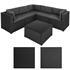 Polyrattan Luxus Lounge Garnitur sechsteilig, Schwarzes Rattan Geflecht inklusive Beige farbenen Kissen und Glastisch
