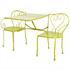 5 teiliges Metall Garten Set in der Farbe gruen mit Gatenbank, die sich in einen Tisch umwandeln laesst