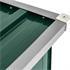 Holzunterstand mit Schraegdach in der Farbe Gruen, aus verzinktem Profilblech mit Profilversteifung fuer erhoete Stabilitaet,  mit Dachueberstand