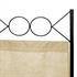 Vierteiliger Paravent mit schwarzem Stahl Rahmen und Polyesterflies Bespannung in beige, geeignet als Raumteiler, Umkleide, Sichtschutz oder Trennwand