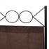 Vierteiliger Paravent mit Stahl Rahmen in der Farbe Schwarz, Polyesterflies Bespannung in der Farbe Braun, Hoehe ca. 180 cm