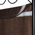 Vierteiliger Paravent mit schwarzem Stahl Rahmen und Polyesterflies Bespannung in braun, geeignet als Raumteiler, Umkleide, Sichtschutz oder Trennwand