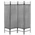 Vierteiliger Paravent mit Stahl Rahmen in der Farbe Schwarz, Polyesterflies Bespannung in der Farbe Grau, Hoehe ca. 180 cm