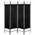 Vierteiliger Paravent mit Stahl Rahmen in der Farbe Schwarz, Polyesterflies Bespannung in der Farbe Schwarz, Hoehe ca. 180 cm