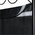 Vierteiliger Paravent mit schwarzem Stahl Rahmen und Polyesterflies Bespannung in schwarz, geeignet als Raumteiler, Umkleide, Sichtschutz oder Trennwand
