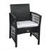 Gartenmöbel Set Rattan mit 2 Armlehnstühlen und Tisch 40x40 cm schwarz