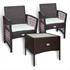 Gartenmöbel Set Rattan mit 2 Armlehnstühlen und Tisch 50x50 cm dunkelbraun