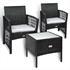 Gartenmöbel Set Rattan mit 2 Armlehnstühlen und Tisch 50x50 cm schwarz