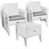 Gartenmöbel Set Rattan mit 2 Armlehnstühlen und Tisch 40x40 cm weiß