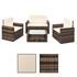 Polyrattan Lounge braun – ein Sofa, zwei Sessel, ein Tisch