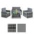 Polyrattan Lounge grau – ein Sofa, zwei Sessel, ein Tisch