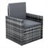 Polyrattan Lounge grau – Sessel mit Kissen