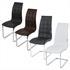 Esszimmerstuhl mit hochwertigem Kunstlederbezug, Freischwinger Farben weiss, grau, braun, schwarz, Gestell aus Metall verchromt, Seitenansicht