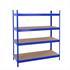 Weitspannregal Stecksystem 180 x 160 x 60 cm, Tragkraft 1000 kg, in der Farbe blau, verzinkt, MFD-Böden, 4 Ebenen