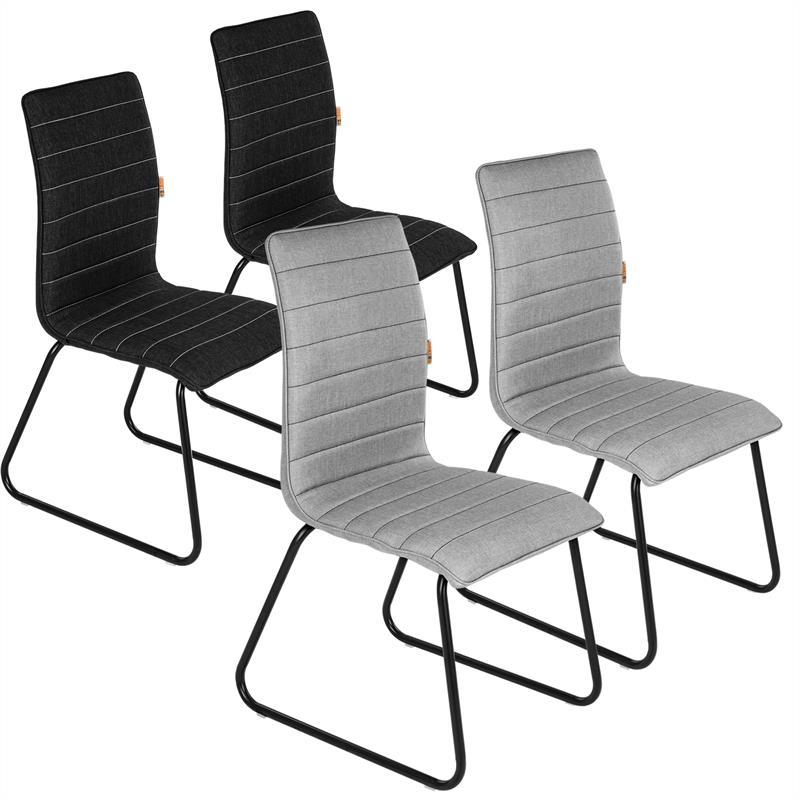 esszimmerst hle stoff grau schwarz 2er. Black Bedroom Furniture Sets. Home Design Ideas