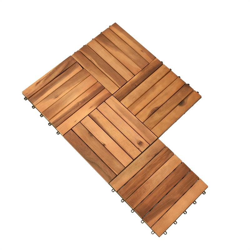 Holzfliesen 30 X 30 Cm Aus Akazienholz 1 3 M Set Klicksystem
