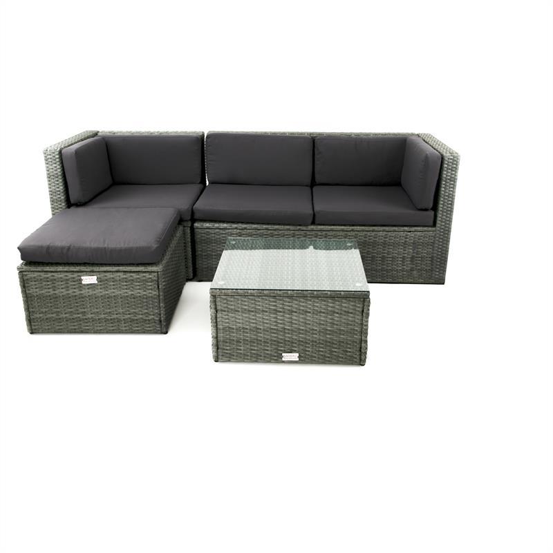 Extrem Poly Rattan Lounge grau YZ77