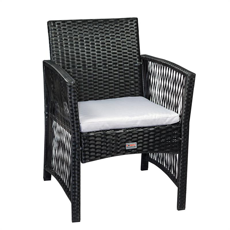 2 rattan gartenst hle schwarz. Black Bedroom Furniture Sets. Home Design Ideas
