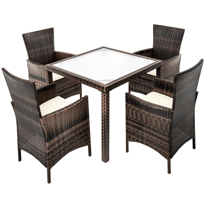 rattan gartenm bel set braun f r 4 personen. Black Bedroom Furniture Sets. Home Design Ideas