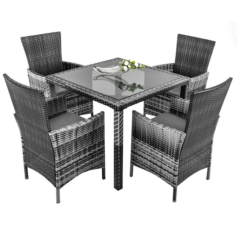 rattan gartenm bel set grau f r 4 personen. Black Bedroom Furniture Sets. Home Design Ideas