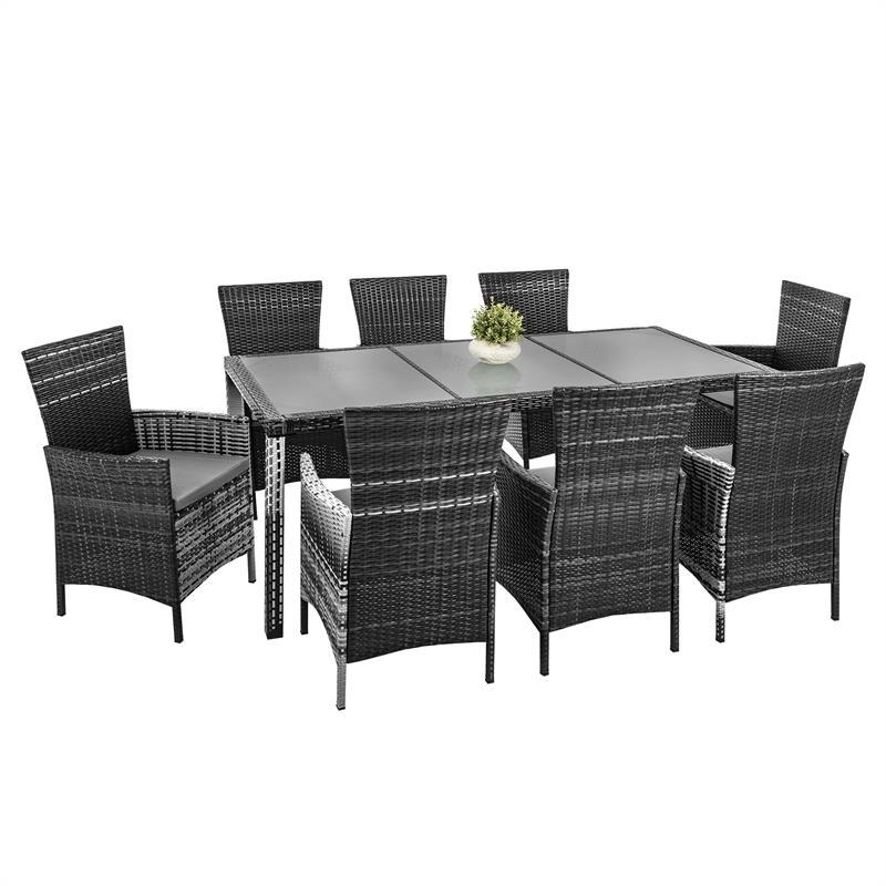 Polyrattan Gartenmöbel Set Grau Für 8 Personen