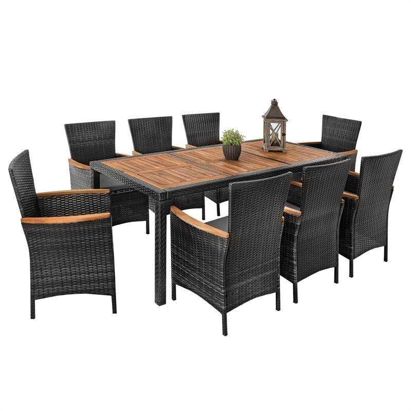 Polyrattan Sitzgruppe für 8 Personen grau