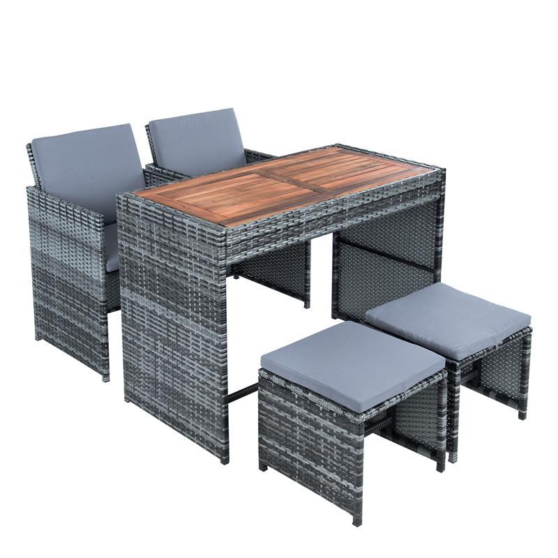 Rattan Sitzgruppe Würfel Tisch 2 Stühle 2 Hocker Grau